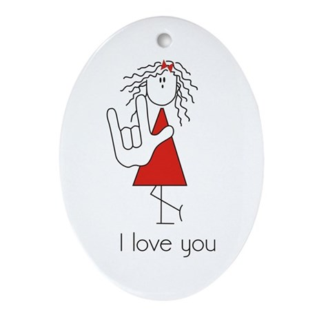 &Quot;I Love You&Quot; Sign Language Oval Ornament
