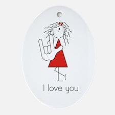 &Quot;I Love You&Quot; Sign Language Oval Ornament