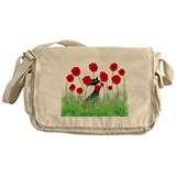 Black cat poppy Canvas Messenger Bags