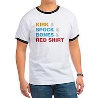 Kirk & Spock & Bones & Red Shirt Ringer T