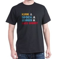 Kirk & Spock & Bones & Red Shirt Dark T-Shirt