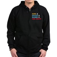 Kirk & Spock & Bones & Red Shirt Zip Hoodie (dark)