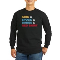 Kirk & Spock & Bones & Red Shirt Long Sleeve Dark