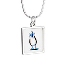 Blue Footed Booby Silver Square Necklace