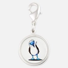Blue Footed Booby Silver Round Charm
