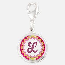 Monogram Alphabet Letter L Pink Silver Round Charm