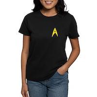 Star Trek Captains Badge Chest Women's Dark T-Shir