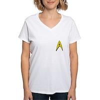 Star Trek Captains Badge Chest Women's V-Neck T-Sh