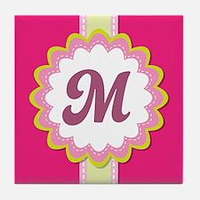 Monogram Alphabet Letter M Pink Tile Coaster