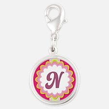 Monogram Alphabet Letter N Pink Silver Round Charm