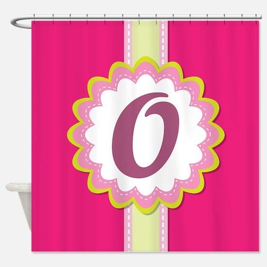 Monogram Alphabet Letter O Pink Shower Curtain