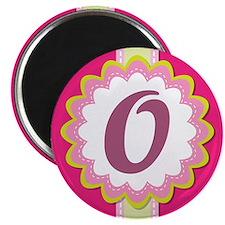 Monogram Alphabet Letter O Pink Magnet