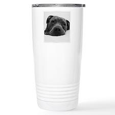 Cute Black And White Pit Bull Face Travel Mug