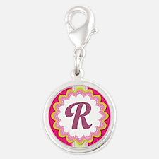 Monogram Alphabet Letter R Pink Silver Round Charm