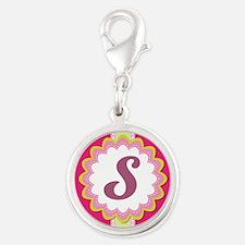 Monogram Alphabet Letter S Pink Silver Round Charm