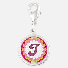 Monogram Alphabet Letter T Pink Silver Round Charm