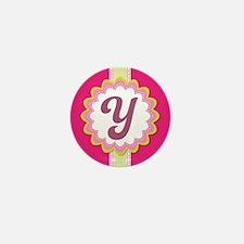 Monogram Alphabet Letter Y Pink Mini Button