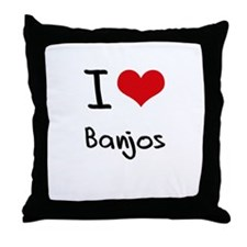 I Love Banjos Throw Pillow