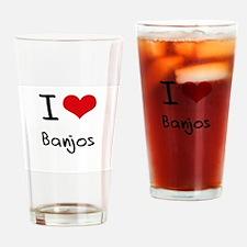 I Love Banjos Drinking Glass