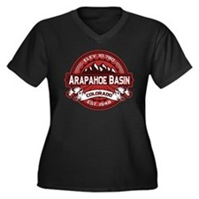 Arapahoe Basin Red Women's Plus Size V-Neck Dark T