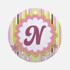 Monogram Alphabet Letter N Pink Ornament (Round)