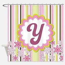 Monogram Alphabet Letter Y Pink Shower Curtain