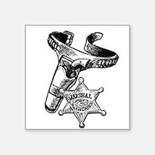 """Marshal Badge & Pistol In Holder Square Sticker 3"""""""
