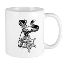 Marshal Badge & Pistol In Holder Mug