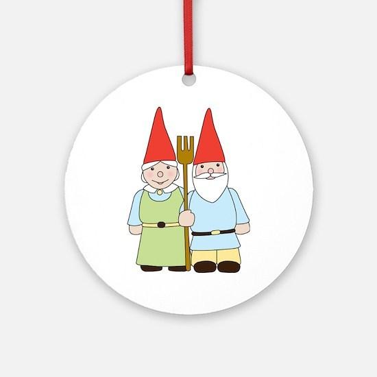 Gnome Couple Ornament (Round)