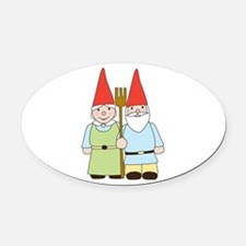 Gnome Couple Oval Car Magnet
