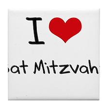 I Love Bat Mitzvahs Tile Coaster