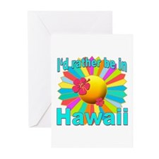 Tropical I'd Rather be in Hawaii Greeting Cards (P