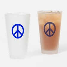 Blue White Peace Sign Drinking Glass