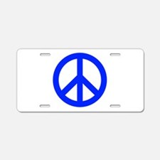 Blue White Peace Sign Aluminum License Plate