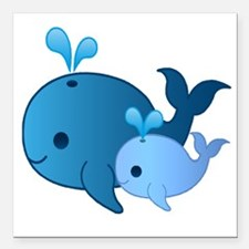 """Baby Whale Square Car Magnet 3"""" x 3"""""""