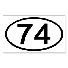 Number 74 Oval Rectangle Decal