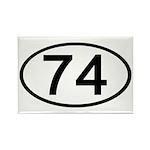 Number 74 Oval Rectangle Magnet (10 pack)
