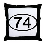 Number 74 Oval Throw Pillow