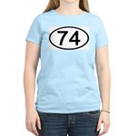 Number 74 Oval Women's Pink T-Shirt