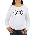 Number 74 Oval Women's Long Sleeve T-Shirt