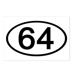 Number 64 Oval Postcards (Package of 8)