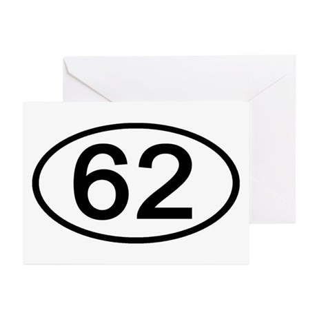 Number 62 Oval Greeting Cards (Pk of 10)