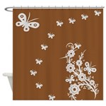 Brown and Pink Butterfly Floral Design Art Shower
