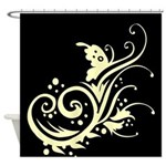Black and White Floral Butterfly Design Shower Cur