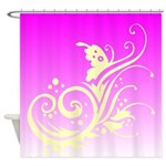 Pink and White Floral Butterfly Design Shower Curt