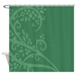 Green Floral Art Design Shower Curtain