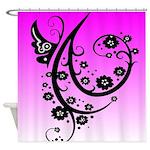 Black and Pink Butterfly Floral Art Design Shower