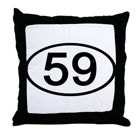 Number 59 Oval Throw Pillow