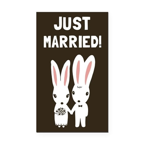 Just Married Bunnies Rectangle Car Magnet