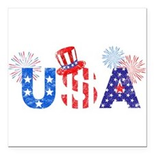 """USA Independence Day Square Car Magnet 3"""" x 3"""""""